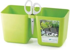 PlasticFuture Květináč Twins Herbs zelený
