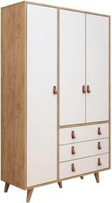 Biela skriňa s detailmi v dekore dubového dreva Garetto Franky