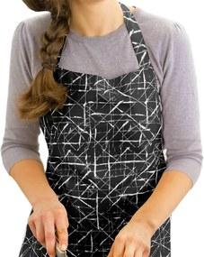 Kuchynská zástera KANAFAS - vzor dizajnové čiary na čiernom