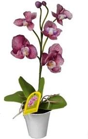 Umelá Orchidea v kvetináči fialová, 35 cm