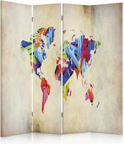 CARO Paraván - Colorful Map Of The World | štvordielny | obojstranný 145x150 cm