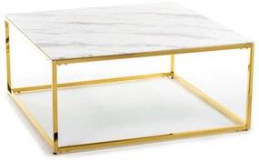 DekorStyle Konferenční stolek REKTA 100 cm zlatý/bílý
