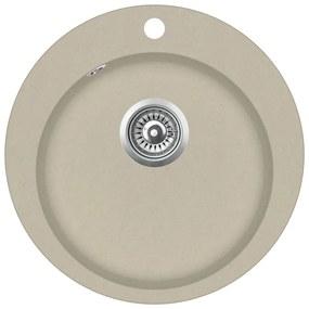 vidaXL Granitový kuchynský drez s jednou vaničkou okrúhly béžový