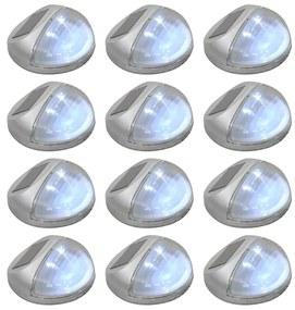 vidaXL Vonkajšie solárne nástenné LED svietidlá 12 ks okrúhle strieborné