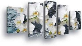 GLIX Obraz na plátne - Stone Background with White Flowers 2 x 40x60 / 2 x 30x80 / 1 x 30x100 cm