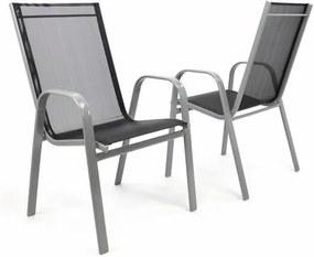 Set 2 ks záhradná stohovateľná stolička – sivá