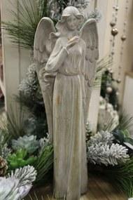 Sivá keramická soška anjela 39cm