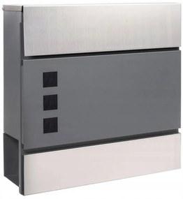 SPRINGOS Poštová schránka na listy a noviny Modern - antracitová matná+strieborná - 37,5x36,5x11cm
