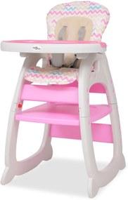 Vysoká detská jedálenská stolička s pultíkom 3-v-1, ružová
