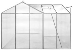 vidaXL Hliníkový skleník s 1 časťou a s dutými panelmi