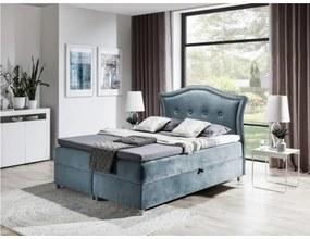 Elegantná rustikálna posteľ Bradley 120x200, šedomodrá + TOPPER