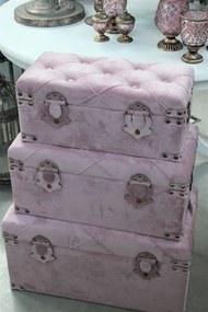 Bledoružové svetlé zamatové truhlice 3-set