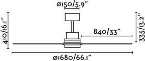 Stropný ventilátor bez svietidla FARO 33504 LANTAU-G