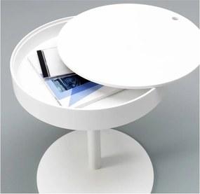 Biely odkladací stolík s úložným priestorom Design Twist Lampang