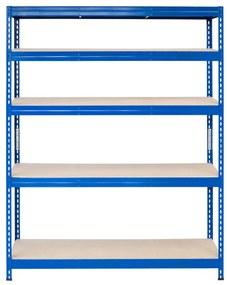 Majster Regál Bezskrutkový kovový regál s HDF policou 180x150x30cm, 5 políc, 400kg na policu, modrá farba