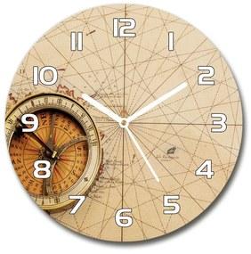 Sklenené hodiny na stenu Kompas na mape pl_zso_30_f_122551026