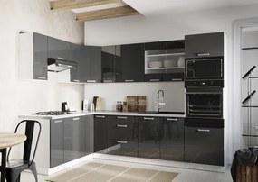 Rohová kuchyňa Vicky ľavý roh 290x180 cm (sivá lesklá)