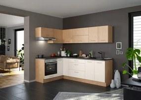 Rohová kuchyňa Heidi pravý roh 270x150 cm (magnólia, dub)