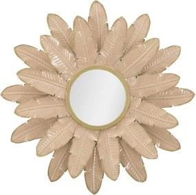 Ružové nástenné zrkadlo Mauro Ferretti Palm, ⌀ 64,5 cm