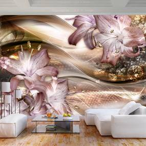 Fototapeta - Lilies on the Wave (Brown) 200x140 + zadarmo lepidlo