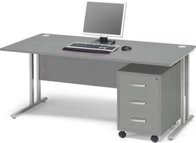 Kancelárska zostava Flexus: stôl 1600x800 mm + kancelársky kontajner, šedá