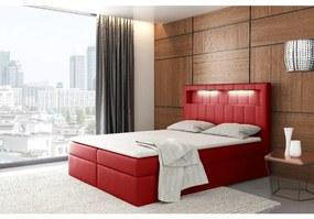Dizajnové jednolôžko Elyan s úložným priestorom červená eko koža 120 x 200 + topper zdarma