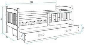 Posteľ KUBO 1 - 160x80cm - Grafitový - Grafitový
