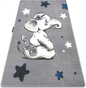 Koberec PETIT ELEPHANT SLONÍK HVIEZDY sivý - 120x170 cm