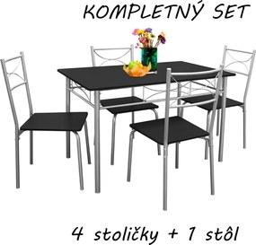 Jurhan & Co.KG Germany 5-dielna jedálenská zostava »Paul« - jedálenský stôl a štyri stoličky – čierna