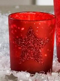 Bighome - Dekoratívny svietnik STARGLITTER 6,5 cm - červená