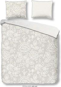 Bielo-sivé bavlnené obliečky na dvojlôžko Descanso Lily, 220 x 240 cm