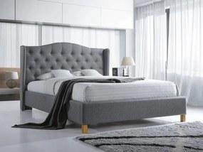Čalúnená posteľ ASPEN 160x200 cm sivá Matrac: Matrac COCO MAXI 23 cm