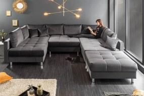 Dizajnová rohová sedačka Ciara XXL 305 cm sivý zamat s taburetkou