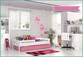 Expedo Detská posteľ HARRY P1 COLOR s farebnou zásuvkou + matrac, 80x160 cm, biely/ružový
