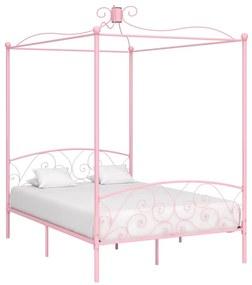 vidaXL Posteľný rám s baldachýnom, ružový, kov 120x200 cm