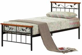 KONDELA Morena 90 kovová jednolôžková posteľ s roštom čierna / čerešňa