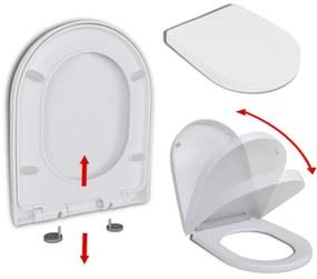 WC sedadlo, pomalé sklápanie, rýchloupínacie, biele, štvorcové