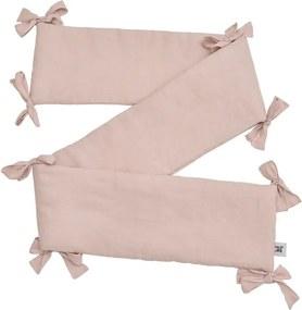 Ružový detský ľanový ochranný mantinel do postieľky BELLAMY Dusty Pink, 23,5 × 198 cm