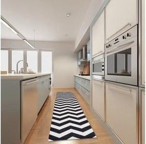 Vysokoodolný kuchynský koberec Webtappeti Optical Black White, 130 × 190 cm
