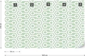 Fototapeta GLIX - Green Geometric Retro Pattern + lepidlo ZADARMO Vliesová tapeta  - 520x318 cm