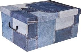 Home collection Úložné krabice se vzorem Patchwork 51x37x24cm jeansová