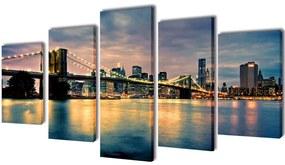 vidaXL Sada obrazov na stenu, motív Brooklynský most a rieka 100 x 50 cm