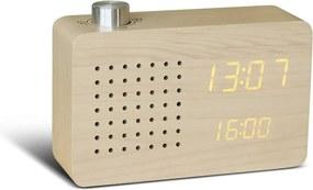 Béžový budík so žltým LED displejom a rádiom Gingko Click Clock