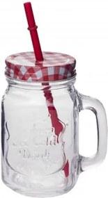 MAKRO - Sklenený pohár s uzáverom + slamka