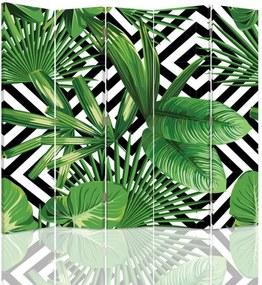 CARO Paraván - Leafy Composition | päťdielny | jednostranný 180x180 cm