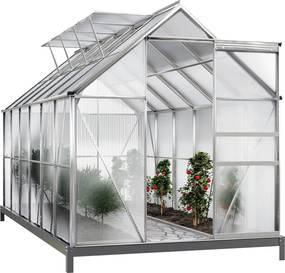 Jurhan & Co.KG Germany Záhradný skleník M1 380 x 190 x 195 cm s hliníkovou konštrukciou a základňou