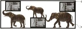 Hnedý kovový nástenný retro fotorám so slonmi - 74,5 * 28,5 * 2 cm