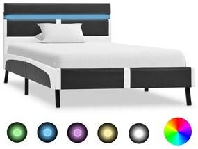 vidaXL Posteľný rám s LED, sivý, umelá koža 90x200 cm