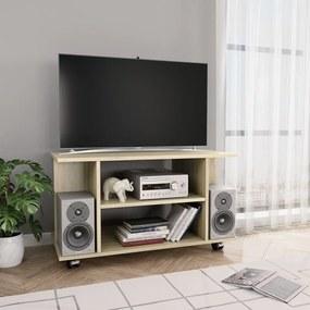 vidaXL TV skrinka s kolieskami farba dubu sonoma 80x40x40 cm drevotrieska