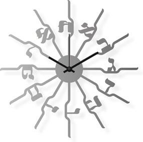 Dizajnové nástenné hodiny: Židovská čísla - Nerezová oceľ  40x40 cm | atelierDSGN